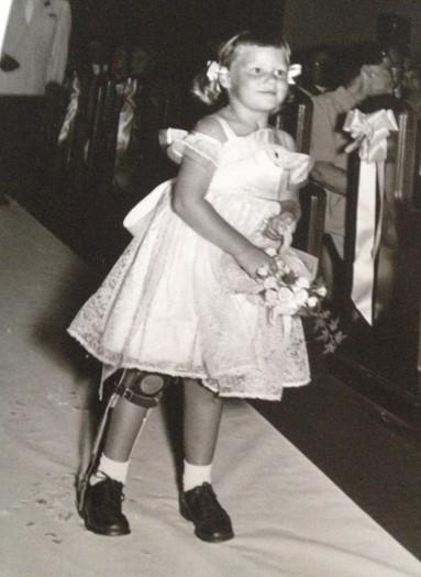 Adele Evidon as a flower girl.