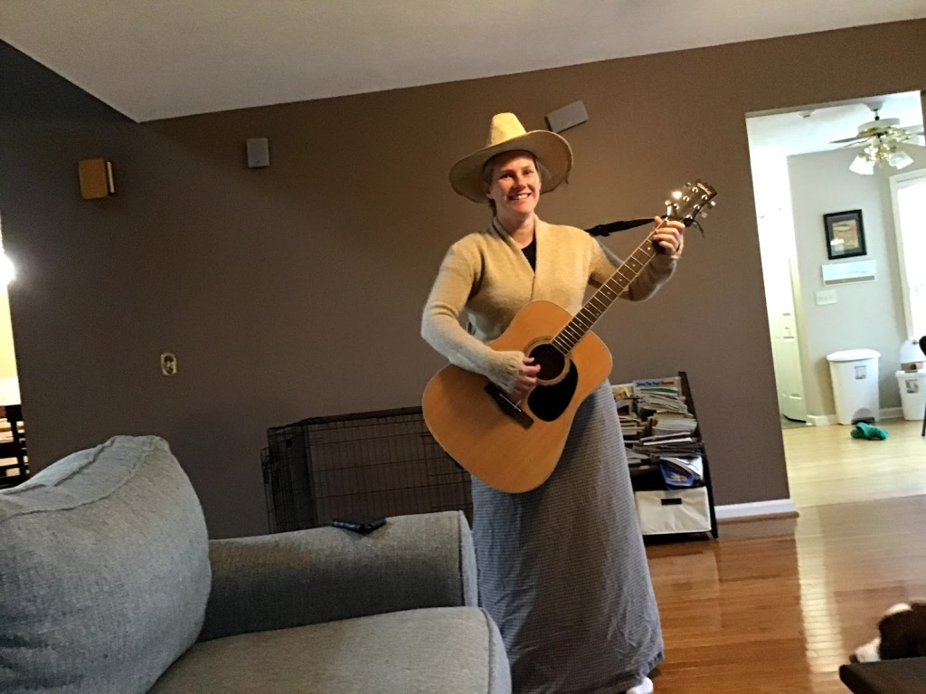 Picture of author dressed as Maria von Trapp