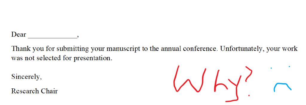 A sample non-acceptance letter.